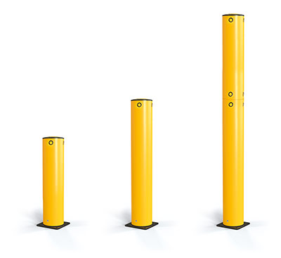 yellow bolt down bollards