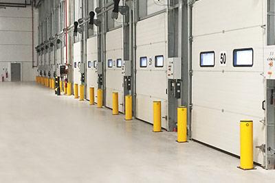bollards protect loading dock doors