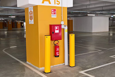 parking garage bollards protect column