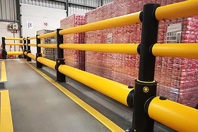 warehouse guard rail in loading dock area