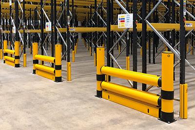 heavy duty pallet rack end guard rails
