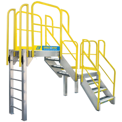 Industrial ladder components provide greater flexibility when providing access to elevated platforms.