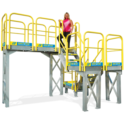 Safe access to upper levels of warehouse mezzanine.