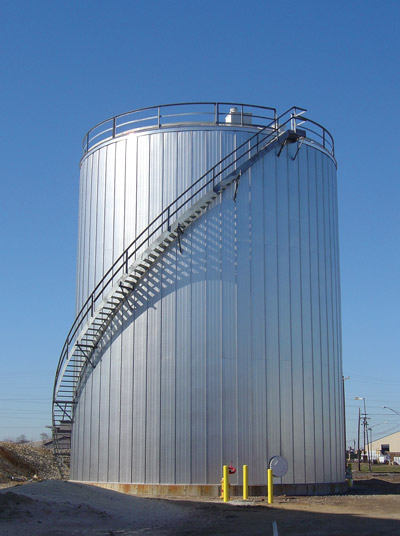 Insulated fire protection water storage tank.