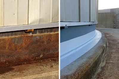 tank base sealing and corrosion repair