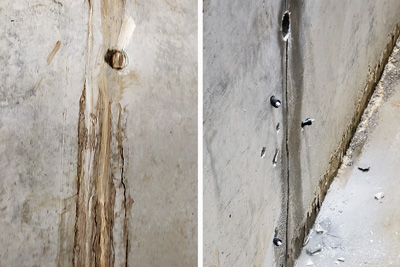 example of chemical grout injection repair of leaking concrete crack