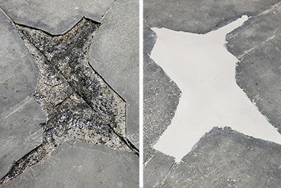 warehouse floor pothole repair before and after