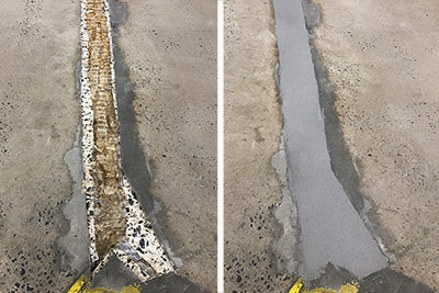 warehouse floor seam repair before and after