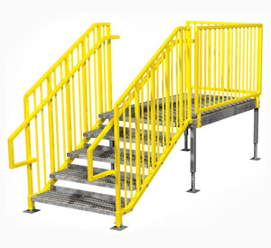 IBC OSHA compliant portable stairs left entry