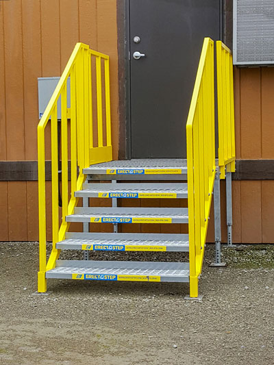 Portable stairs for temporary office trailer