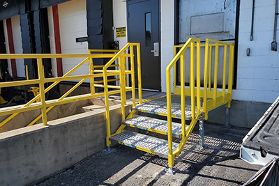 portable stair installation at a loading dock