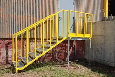 portable stairs installation at warehouse