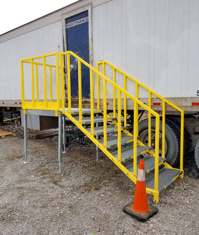 Portable stairs for work trailer