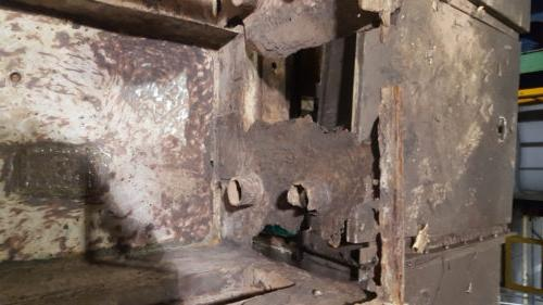 These steel boxes deteriorated from years of spraying a water/bleach solution into them