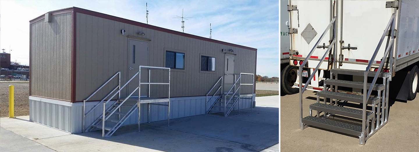 OSHA compliant portable stairs at office trailer and semi trailer
