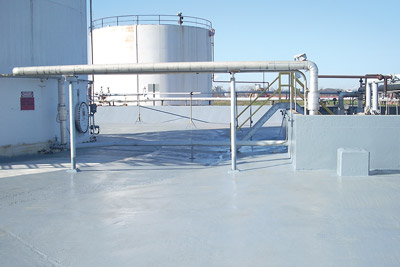 Secondary spill containment area coating