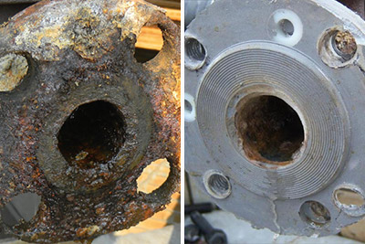 flange face repair before and after