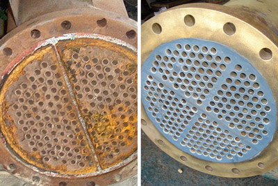 tube sheet corrosion repair before and after