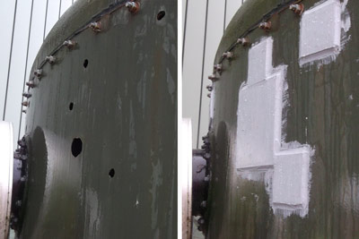 holed tank repair with cold plate bonding