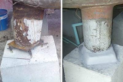 vessel support leg repair