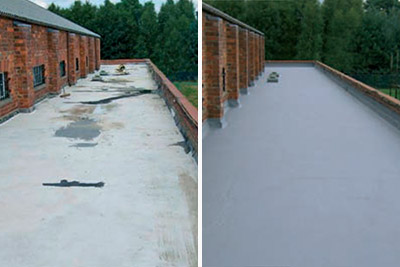 flat roof leak repair membrane