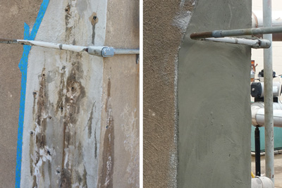 before and after photo of concrete tank leak repair