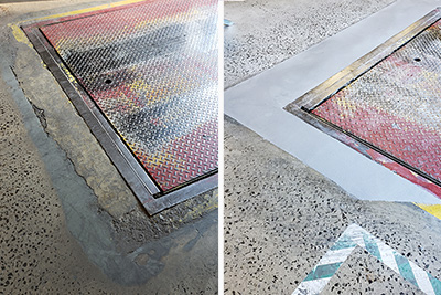 concrete repair around loading dock lift curb angle