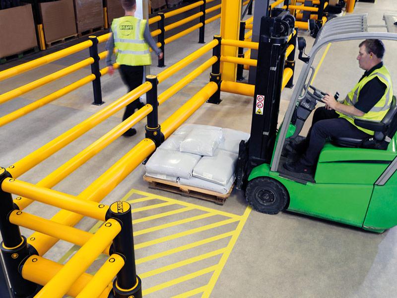 A-SAFE Warehouse Guard Rail Application Photo
