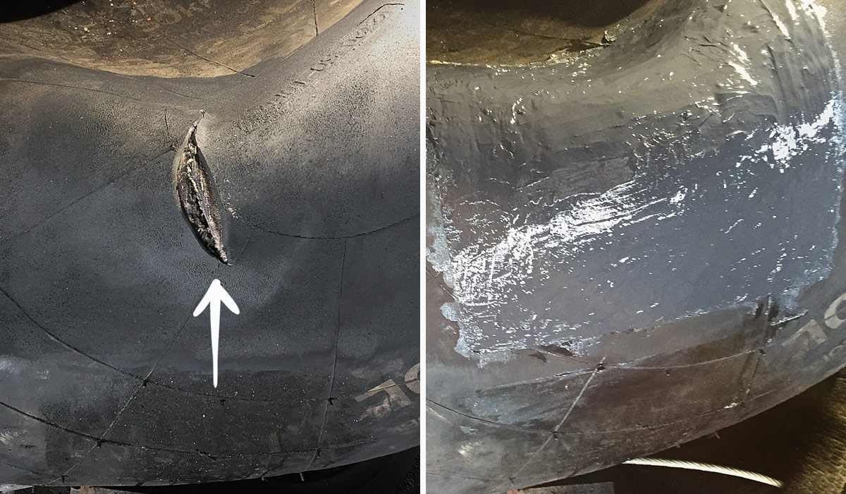 rubber marine fender repair before and after