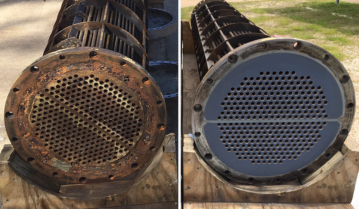 chiller tube sheet repair coating before and after