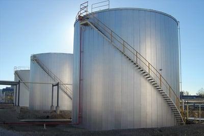 three storage tanks insulated for energy savings